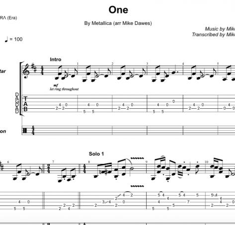 One – Guitar TAB + Free MP3